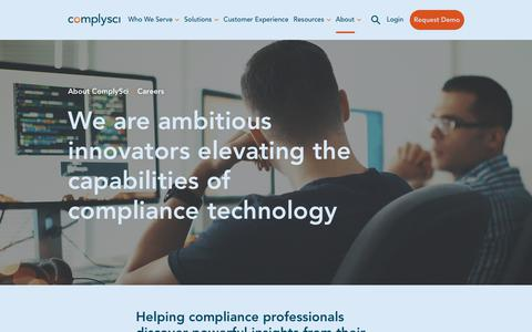 Screenshot of Jobs Page complysci.com - Careers | ComplySci - captured July 31, 2019