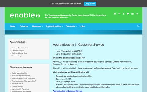 Screenshot of Support Page enable.uk.net - Apprenticeship in Customer Service – Enable - captured Aug. 7, 2017