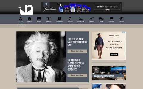 Screenshot of Home Page nextluxury.com - Next Luxury - Men's Magazine And Gear - We Run Men's Lifestyles - captured Sept. 23, 2014