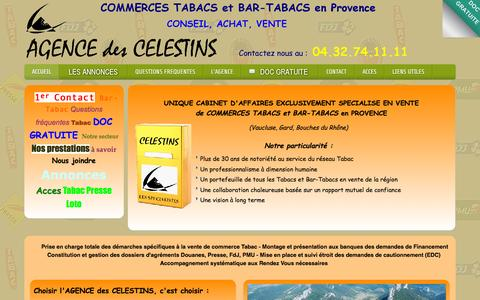 Screenshot of Home Page celestins.com - Agence des CELESTINS - ACHAT et VENTE de COMMERCES TABACS et BARS-TABACS - UNIQUE CABINET D'AFFAIRES EXCLUSIVEMENT SPECIALISE EN TRANSACTIONS de TABACS et BAR-TABACS en PROVENCE - Cabinet Célestins, spécialiste en vente de commerces Tabacs, Bars Taba - captured Oct. 16, 2015