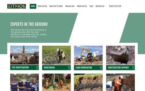 Screenshot of Home Page lithosconsulting.co.uk - Lithos Consulting | Experts in Ground Assessment - captured Jan. 30, 2016