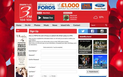 Screenshot of Signup Page three.fm - Sign Up | Club | 3FM Isle of Man radio station - on-air, online, on Apple and on Android - captured Oct. 27, 2014