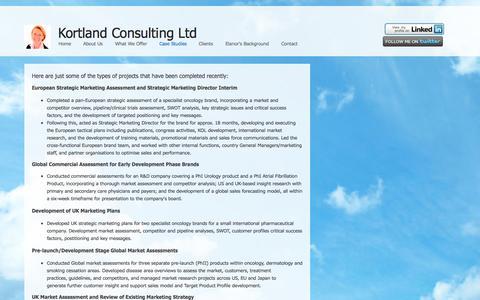Screenshot of Case Studies Page kortlandconsulting.co.uk - Case Studies - captured Oct. 6, 2014