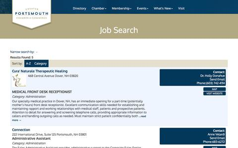 Screenshot of Jobs Page portsmouthchamber.org - Job Search - Greater Portsmouth Chamber of Commerce, NH - captured Nov. 15, 2016