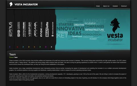 Screenshot of Team Page vestaincubator.com - Vesta incubator connects us all - captured Oct. 26, 2014