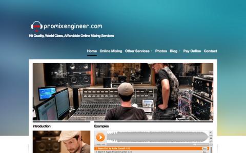 Screenshot of Home Page promixengineer.com - Professional Online Mixing Engineer Nashville - Promixengineer.com - captured Oct. 3, 2014