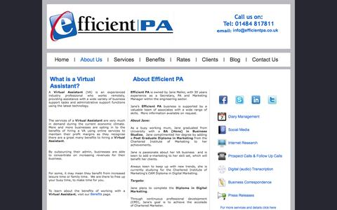 Screenshot of About Page efficientpa.co.uk - What is a Virtual Assistant | About Efficient PA - captured Dec. 7, 2015