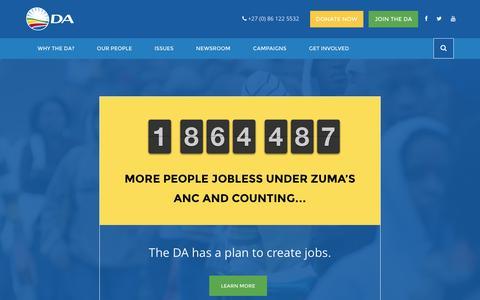 Screenshot of Home Page da.org.za - Democratic Alliance - captured Feb. 4, 2016