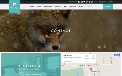 Screenshot of Contact Page parkcitypeaks.com - Contact Peaks Hotel In Park City Utah | Accommodations In Park City UT - captured Feb. 28, 2016