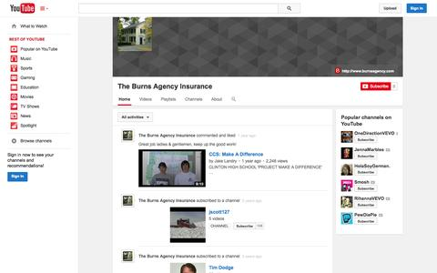 Screenshot of YouTube Page youtube.com - The Burns Agency Insurance  - YouTube - captured Oct. 26, 2014