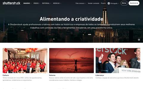 Screenshot of About Page shutterstock.com - Sobre nós   Shutterstock - captured Oct. 9, 2019