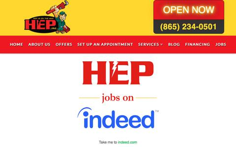 Screenshot of Jobs Page hepisontheway.com - HEP - Knoxville Air Conditioning, Electrical, Plumbing and Roofing Services - captured Sept. 25, 2018