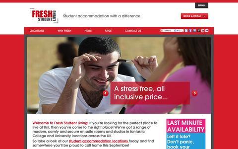 Screenshot of Home Page freshstudentliving.co.uk - Great value accommodation for students across the UK : Fresh Student Living - captured Sept. 30, 2014