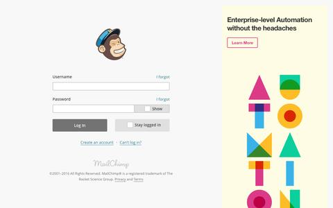 Screenshot of Login Page mailchimp.com - Login | MailChimp - email marketing made easy - captured May 21, 2016