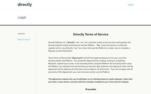 Screenshot of Terms Page directly.com - Legal | Directly - captured June 15, 2017