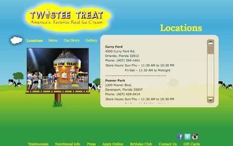 Screenshot of Locations Page twisteetreat.com - Locations   Twistee Treat - captured Oct. 6, 2014