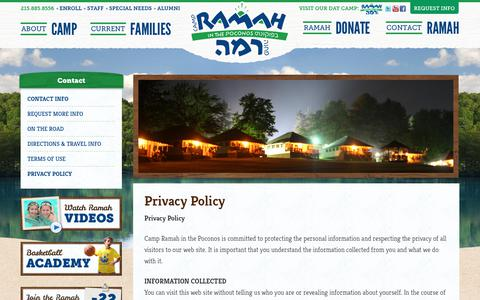 Screenshot of Privacy Page ramahpoconos.org - Privacy Policy | Camp Ramah in the Poconos - captured July 14, 2017