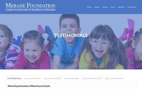 Screenshot of Testimonials Page mebanefoundation.com - Mebane Charitable Foundation     Testimonials - captured Oct. 18, 2017