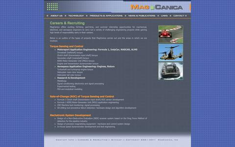 Screenshot of Jobs Page magcanica.com - MagCanica Inc :: Home - captured May 27, 2017