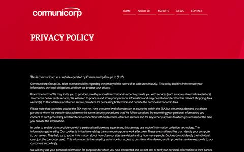Screenshot of Privacy Page communicorp.ie - PRIVACY POLICY | Communicorp - captured Sept. 30, 2014