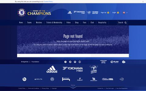 404 | Error Pages | Official Site | Chelsea Football Club
