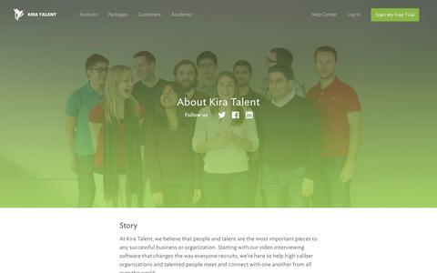 Screenshot of About Page kiratalent.com - About Kira Talent | Online Video Interviews - Kira Talent - captured June 16, 2015