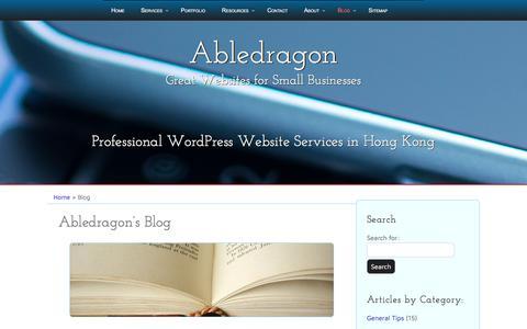 Screenshot of Blog abledragonmarketing.com - WordPress Development, Security and Guides Hong Kong - captured July 28, 2018