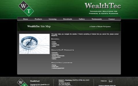 Screenshot of Site Map Page wealthtec.com - WealthTec   Site Map - captured Oct. 7, 2014