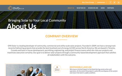 Screenshot of About Page oyasolar.com - About Us - OYA Solar - captured Oct. 20, 2018