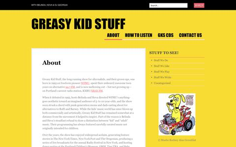 Screenshot of About Page wordpress.com - About | Greasy Kid Stuff - captured Sept. 12, 2014