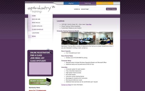Screenshot of Locations Page spindustrytraining.com - Spindustry Training: SQL, SCCM, VB, C# Training Des Moines Iowa - captured Oct. 23, 2017