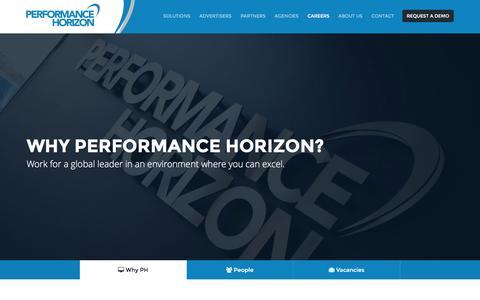 Screenshot of Jobs Page performancehorizon.com - Careers | Performance Horizon - captured March 24, 2016