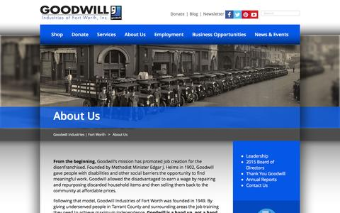 Screenshot of About Page goodwillfortworth.org - About Us | Goodwill Industries | Fort Worth - captured Jan. 31, 2016