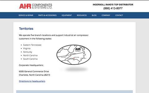 Screenshot of Locations Page air-components.com - Territories - Air Components - captured Nov. 20, 2016