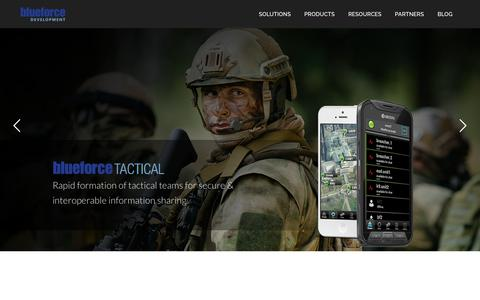Screenshot of Home Page blueforcedev.com - Enhancing life safety, increase operational efficiency, and enable better decisions |Blueforce Development - captured Oct. 10, 2017