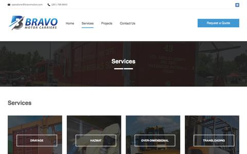 Screenshot of Services Page bravomotors.com - Services | Bravo Motor Carriers - captured July 5, 2017