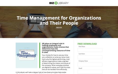 Screenshot of Landing Page bizlibrary.com - Time Management for Organizations and Their People - captured Oct. 22, 2019