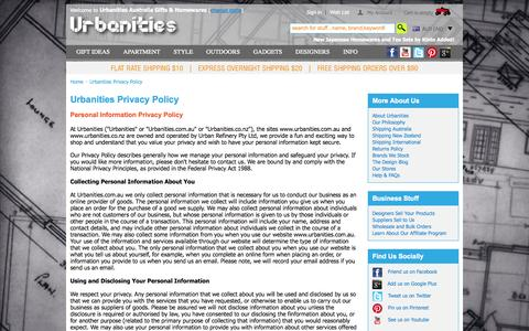 Screenshot of Privacy Page urbanities.com.au - Privacy Policy - Urbanities Online Gifts Store - captured Oct. 26, 2014