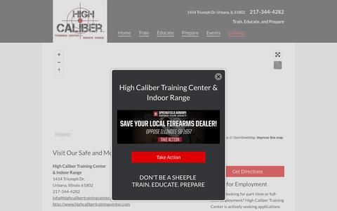 Screenshot of Contact Page highcalibertrainingcenter.com - Contact High Caliber Training Center & Indoor Range - Ammunition Training in Champaign, Illinois (IL) - captured Aug. 10, 2017
