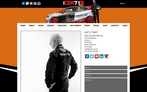 Screenshot of Contact Page maxcoatesracing.co.uk - Max Coates Racing   CONTACT - captured June 10, 2017