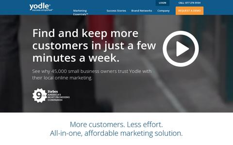 Screenshot of Home Page yodle.com - All-In-One Local Internet Marketing & Advertising | Yodle - captured July 11, 2014