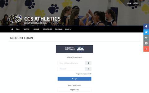 Screenshot of Login Page bigteams.com - County Christian School - captured Feb. 20, 2018