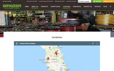 Screenshot of Locations Page amazonhose.com - Amazon Hose has Locations in Miami, Tampa, and Orlando - captured Oct. 3, 2018