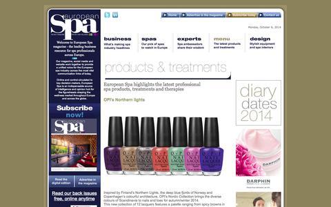 Screenshot of Menu Page europeanspamagazine.com - The Latest Products and Treatments - European Spa Magazine - captured Oct. 6, 2014