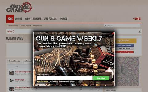 Screenshot of Home Page gunandgame.com - Gun and Game - captured Oct. 1, 2015