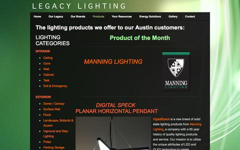 Screenshot of Products Page legacyltg.com - Products - Lighting in Austin, TX: Legacy Lighting - captured Oct. 2, 2014