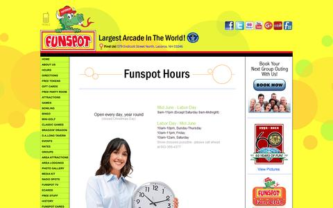 Screenshot of Hours Page funspotnh.com - Funspot...The Spot for Fun! - captured May 22, 2016