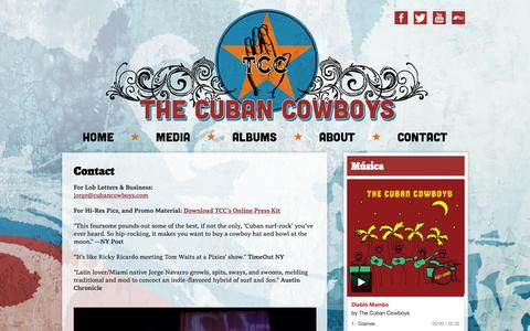 Screenshot of Contact Page cubancowboys.com - Contact - captured Oct. 7, 2014