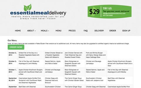 Screenshot of Menu Page essentialmealdelivery.com - Essential Meal Delivery - captured Sept. 30, 2014