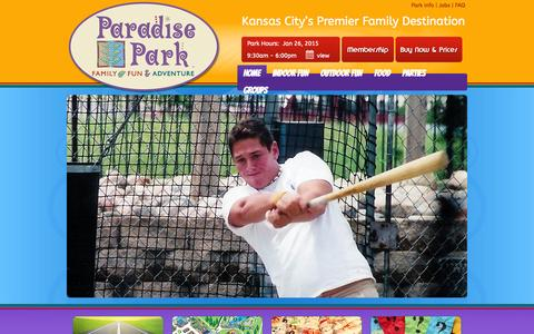 Screenshot of Home Page paradise-park.com - HOME - Paradise ParkParadise Park | Family Fun & Adventure - captured Jan. 26, 2015